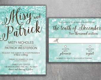 Captivating Tiffany Blue Wedding Invitation Set Printed, Glitter Wedding Invitation,  RSVP, Lights, Sparkly