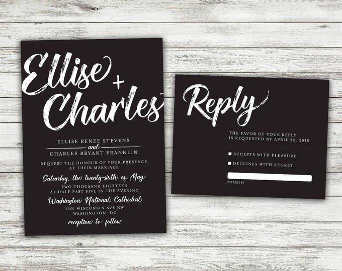 Chalkboard Wedding Invitation, Wedding Invitation, Blackboard Wedding Invitation, Rustic, Black and White Wedding Invitations, Country, BW