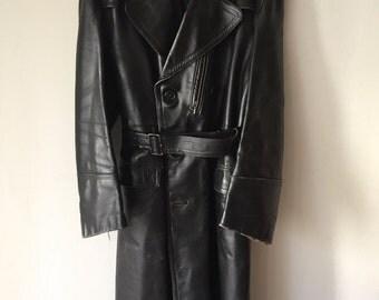 Motorcycle Military Long Vintage Black Genuine Leather Coat Men's Size Large.