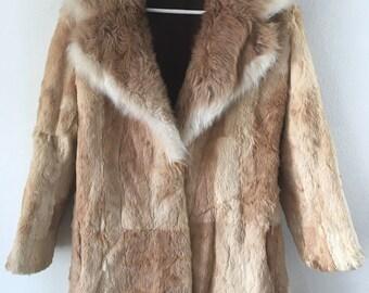 Luxurious Mid Length Vintage Orange Genuine Rabbit & Fox Fur Coat Women's Size Medium.
