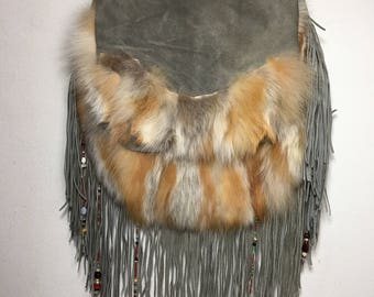 Red fox fur evening bag , hand made recycling leather & fur bag on a metal chain size big .