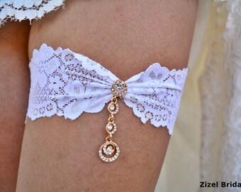 Ivory Wedding Garter, Rhinestone Garter, Lace Garte Set, Bridal Garter, Rhinestone Bridal, Ivory Bridal Garter, Handmade Garter, Toss Garter