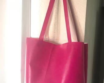 Hot Pink Faux Leather Tote