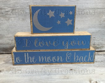 Love You To the Moon and Back wooden blocks, Love You to the Moon and Back, decorative block set