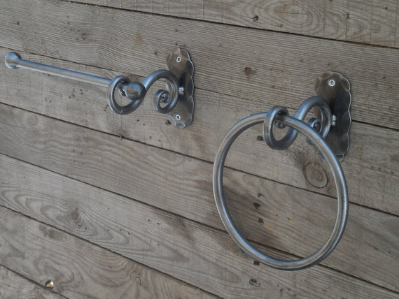 wrought iron bathroom fixtures set of forged towel ring and toilet paper holder 21738