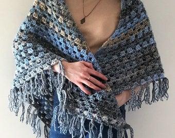 Hand Crocheted Triangular Shawl, Crocheted Shawlette, Spring Wrapper, Boho Shawl, Shawl with Fringe, South Bay Shawlette, Country Style