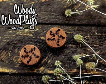 """Comfortable engraved wooden plugs star and roses-  plugs star and roses - star plugs - roses plugs -  size 16 mm to 70 mm / 5/8"""" to 2 3/4 ″"""