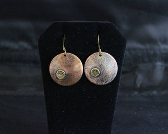 Unique and Striking Etched Copper Earrings with overlay.  (05212017-026)