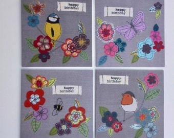 Set of 4 birthday cards, original free motion embroidery prints, bird/bee/butterfly/flower designs