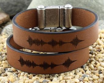 Personalized Couple Sound Wave Bracelet, Engraved Leather Bracelet, Matching Bracelets, Personalized Gifts, Voice Recording, Keepsake Gifts