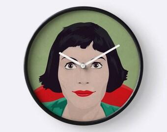 Amelie clock, french film clock, Audrey Tautou clock, illustration amelie, wall clock, decorative clock