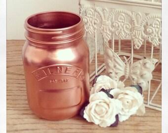 Rose Gold Copper Flower Vase Make Up Brush Pot 0.5 Litre Small kilner Mason Jar