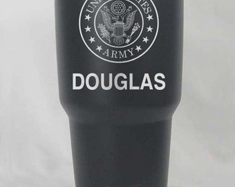 20 30 oz stainless or black matte Yeti or RTIC US Army United States Custom personalized