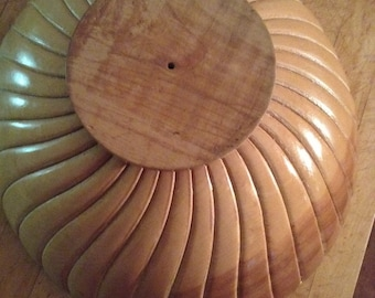 Large Turned Wood Bowl, Swirl pattern