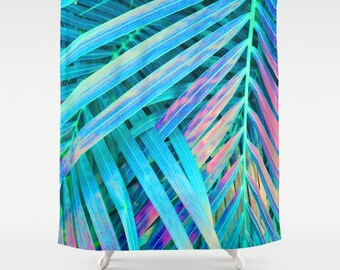 Blue Shower Curtain, Tropical Leaf Print, Palm Leaf Bath Decor, Rainbow Bathroom  Accessories