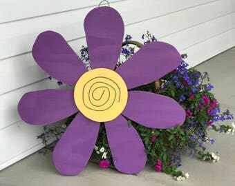 Purple Wooden Flower Door Hanger