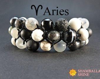 Inspirational gift Personalized Healing gemstone bracelet Aries jewelry Custom birthstone bracelet Black white jewelry Women meditation