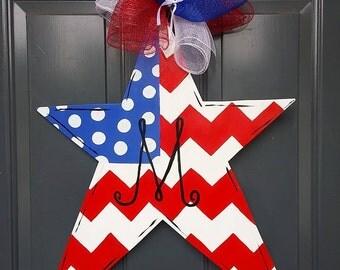 Patriotic Star Wooden Door Hanger Star Door Hanger 4th Of