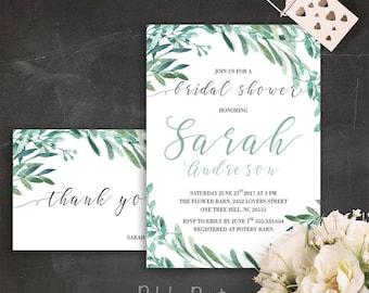Greenery Bridal Shower Invitation Printable Botanical Shower Invites Green Bridal Shower Suite Garden Bridal Shower Invitations Greenery PDF