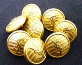 """Yves Saint Laurent Buttons, Authentic YSL Vintage,  YSL Logo, Very Rare Vintage, Gold Tone, Size 0,6"""" 1,5 cm, Price for 1 Button"""