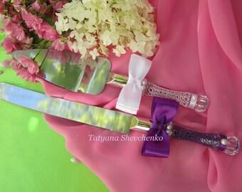 Personalized Wedding Cake Server Set purple and white. Cake Knife. Cake Cutting .Server blue cake knife set of 2