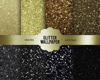 Gold & Black Glitter Wallpapers | Glitter Wallpaper Bundle | Digital Designs | 8 JPG Files | Black and Gold | Sparkles Background | High Res