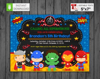 Printable invitation Super heroes in PDF with Editable Texts, Avengers Invitation Chalkboard, edit and print yourself! Instant Download!
