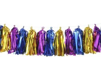 Metallic Gold + Metallic Purple + Metallic Blue | Tassel Garland | Metallic Tissue Tassel Garland | FOLI + LO