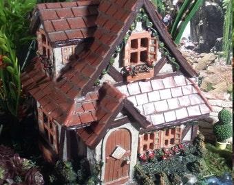 Fairy Garden Miniature Fairy House, Fairy Garden Tudor Cottage w/ Shingle Roof, Fairy Garden House, Resin Home Fairies, Gnome Home,Gift Idea