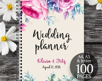 Wedding binder, Wedding book, Pink floral wedding planner,  Printable wedding organizer, Printable wedding planner,  To do wedding list
