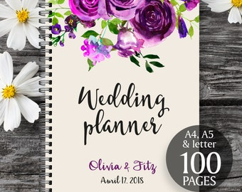Plum wedding planner, Printable wedding planner, Wedding printable binder, Wedding book, Printable wedding organizer, To do wedding list