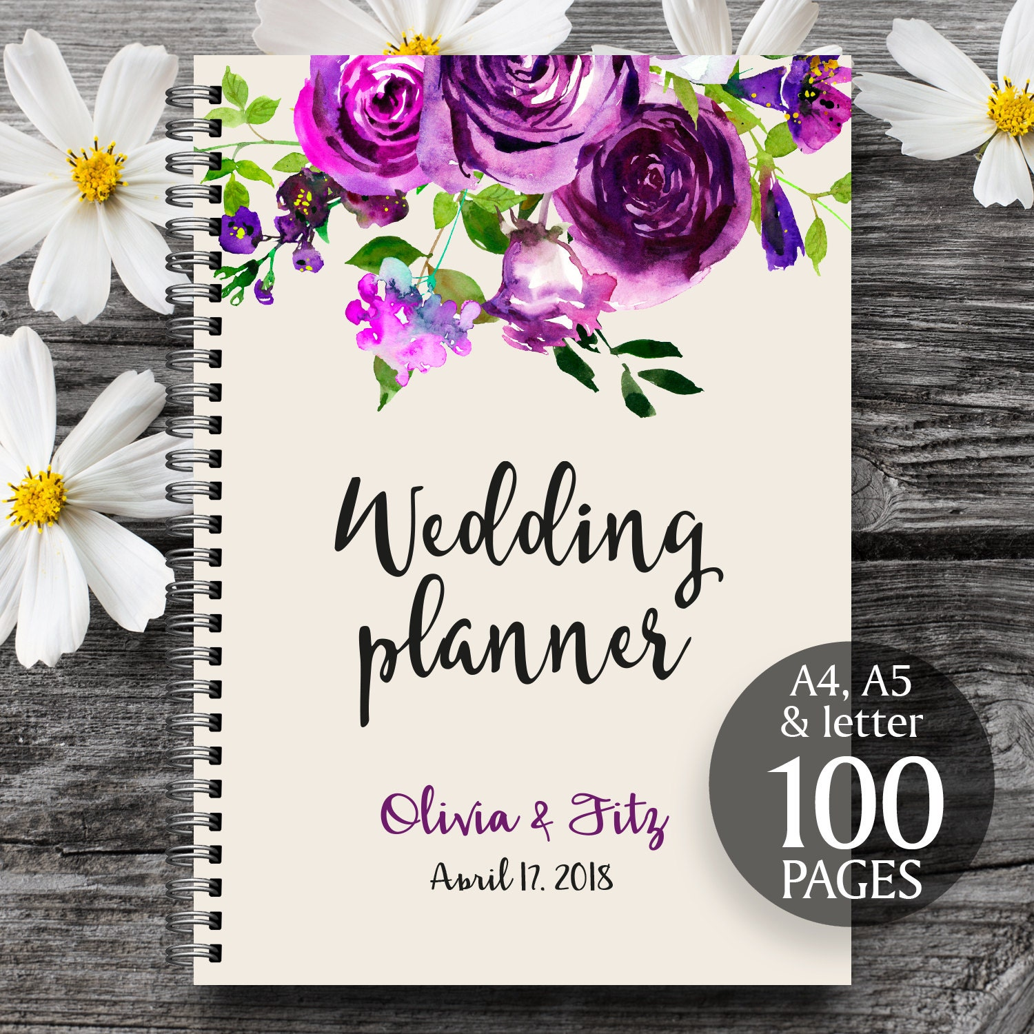 Plum wedding planner, Printable wedding planner, Wedding printable ...