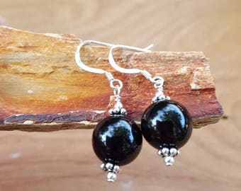 Genuine Round Ball Black Onyx Gemstone and Sterling Silver Earrings, Black Round Ball Onyx and Sterling Earrings, Onyx and Sterling Drops