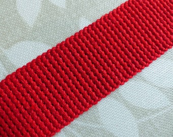 Cotton Webbing - Red - 1m length x 30mm wide