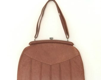Vintage Leather Handbag//Brown Purse//Woman's accessory//