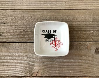 Monogrammed Jewelry Dish, Ring Dish, Personalized Ring Dish, Graduation Gift, High School Graduation, Graduate Gifts, College Grad, Graduate