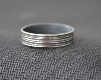 Silver Men's Band Ring (corn husk pattern #1)