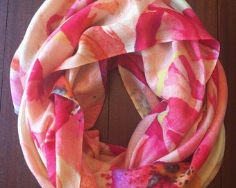 Bright Pink Floral Silk and Wool Scarf. Silk and wool floral scarf. Valentines Day gift for her.
