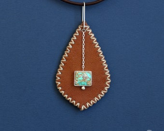 Leather Jewelry, Leather Necklace, Leather Pendant, Modern Leather Pendant With Turquoise stone