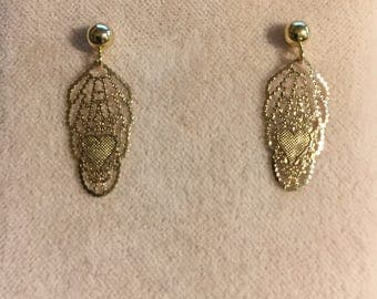 14 Karat Yellow Gold 4MM Ball Post with Lace Deco with Hearts Drop Earrings