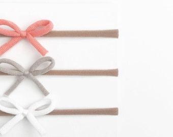 Mini knit bow baby toddler nylon headband
