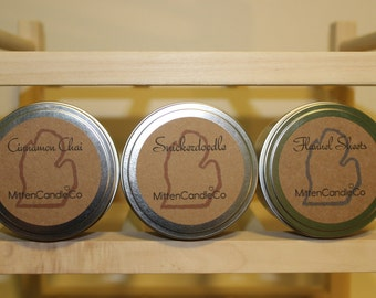 PICK 3 & SAVE! Scented 8oz Soy Candle Tins - Assorted Scents - Michigan Made