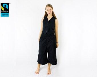 Fairtrade pants black marlene look with pocket, fair vegan organic, long trousers, handmade, made in Germany, FairTale