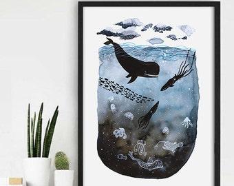 Ocean Watercolour Print, Fish Ocean Painting, Watercolour Fish Painting, Ocean Watercolour Print, Aquarel Sea Print, Home Wall Decor