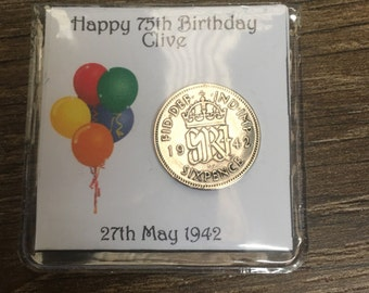 Personalised 75th birthday 1942 sixpence keepsake lucky charm - balloon