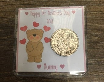 Personalised lucky sixpence 1st mother's day keepsake gift