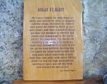 High Flight Aviation Poem-Laser Engraved