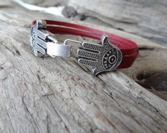 EXPRESS SHIPPING,Hamsa Bracelet, Burgundy Leather Bracelet, Hand of Fatima Bracelet, Unisex Bracelet. Women,Men Bracelet, Gift for Her