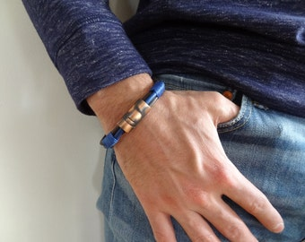 EXPRESS SHIPPING,Men's Bracelet,Navy Blue,Brown Leather Bracelet,Men's Jewelry,Copper Magnetic Clasp Bracelet,Gift for Her,Father's Day Gift