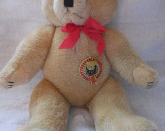 "Vintage Bear from the Shanghai Doll Factory - 15"" tan / beige bear with red bow and tags"